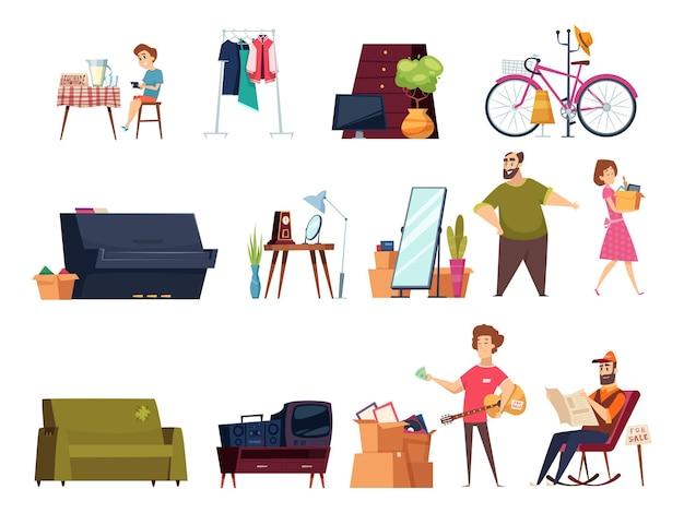 Mercado de pulgas com roupas e itens vintage para casa, muitos móveis, livros antigos, brinquedos, desenhos animados