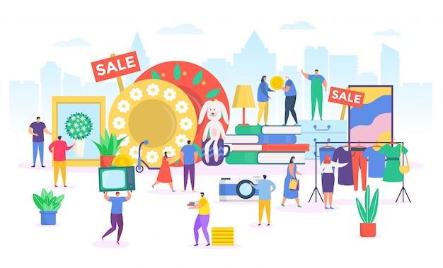 Mercado de pulgas, pequenos desenhos animados vendendo ou comprando roupas de moda antiga no mercado de rua, loja de segunda mão