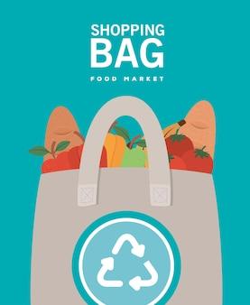 Mercado de sacolinhas de compras e ecobag repleto de produtos do mercado