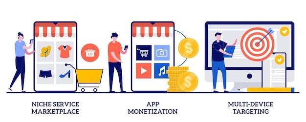 Mercado de serviços de nicho, monetização de aplicativos, ilustração de segmentação em vários dispositivos com pessoas minúsculas
