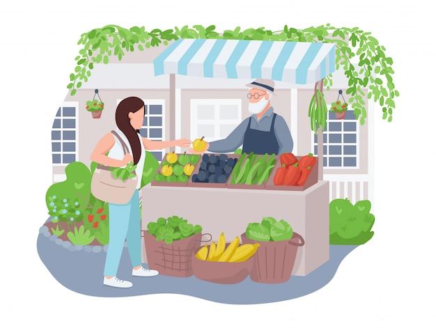 Mercado de vegetais 2d vetor web banner, cartaz.