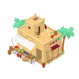Mercado isométrico do oriente médio com cestos e vegetais