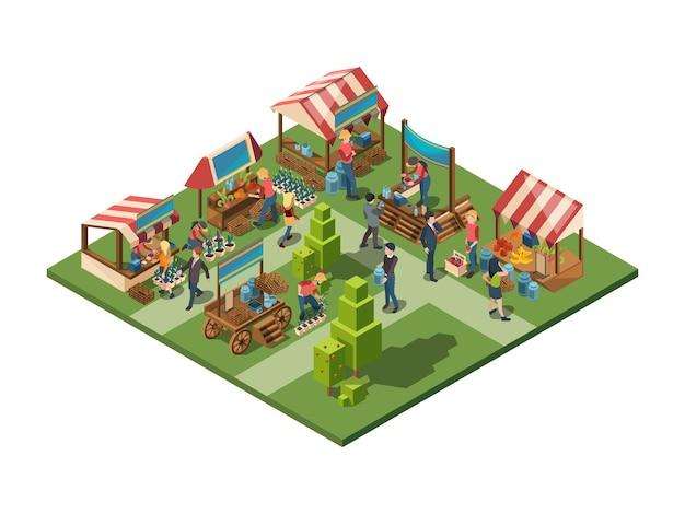 Mercado local. agricultores que vendem produtos agrícolas naturais saudáveis em recipientes, loja ao ar livre com conceito isométrico de vetor de vegetais e frutas