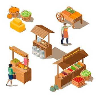 Mercado local de fazenda com vegetais em estilo isométrico