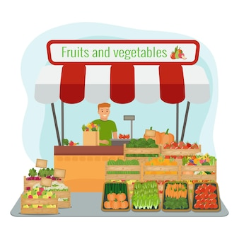 Mercado local de frutas e vegetais da fazenda.