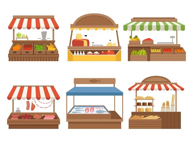Mercado local. postos de comida de rua carrinhos ao ar livre fazenda vegetais frutas carne e leite