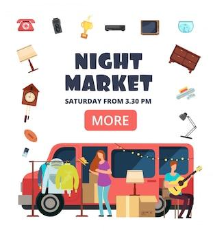 Mercado noturno, cartaz de convite de bazar de rua.