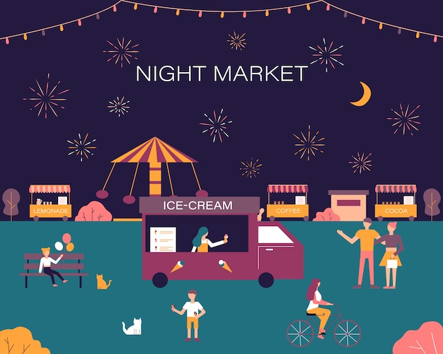 Mercado noturno, summer fest, feira de comida e feira