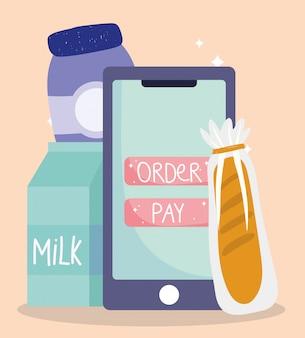Mercado on-line, entrega de comida de pão de leite smartphone no supermercado