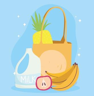 Mercado on-line, saco de maçã com banana e leite, entrega de comida no supermercado