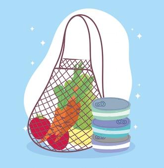 Mercado on-line, saco ecológico com frutas e legumes, entrega de comida no supermercado