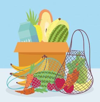 Mercado online, caixa de papelão eco amigável saco com legumes de frutas frescas, entrega de comida no supermercado