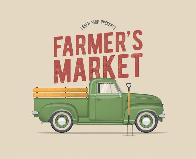 Mercado temático do agricultor vintage com estilo da velha escola camionete verde do agricultor