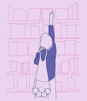 Mercado, varejo, compradores, clientes. mulher com sacola de compras passa um tempo em um shopping de livros.