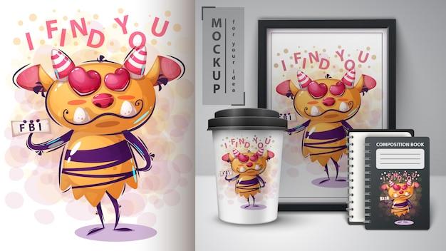 Mercadoria e cartaz de monstro de personagem de desenho animado
