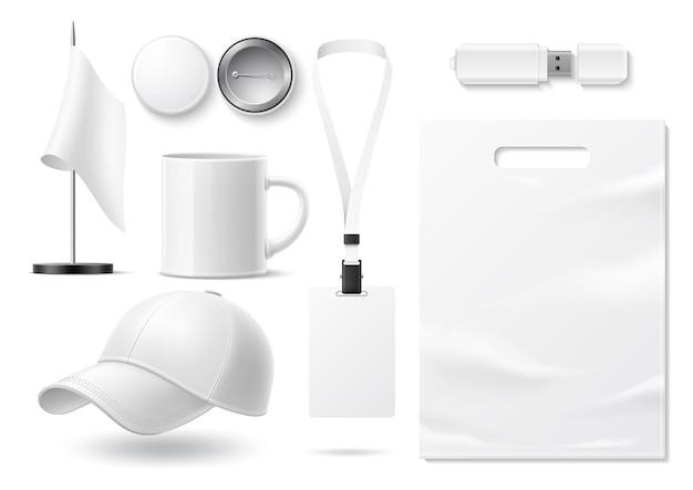Mercadoria em branco realista de vetor para conjunto de maquete de design corporativo e marca