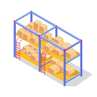 Mercadorias, produtos em caixas de papelão ou caixas de madeira armazenadas em prateleiras de armazém.