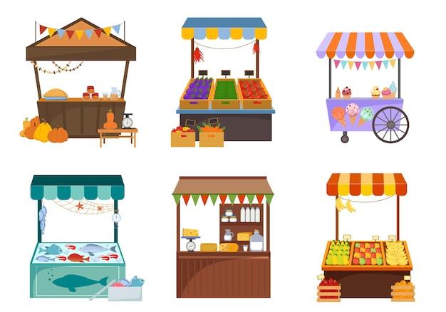 Mercados locais com conjunto plano de alimentos. quiosques com frutas e vegetais frescos.