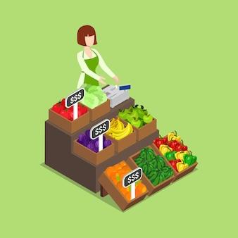 Mercearia ecológica verde fresca com mercado de vegan