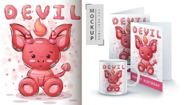 Merchandising bonito do diabo da peluche