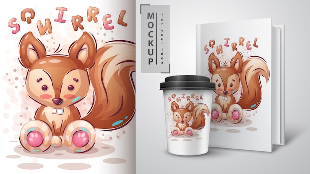 Merchandising de esquilo fofo