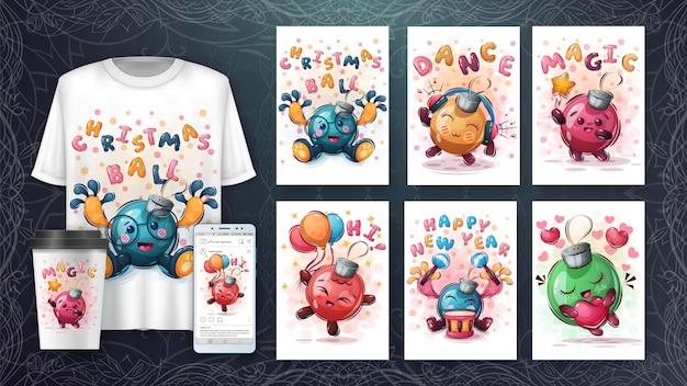 Merchandising e cartaz de bola de feliz natal
