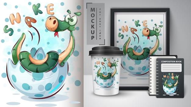 Merchandising e cartaz de cobra feliz