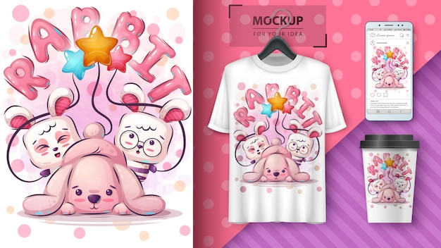 Merchandising e cartaz de coelho feliz