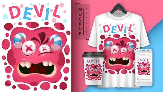 Merchandising e cartaz de monstro bonito