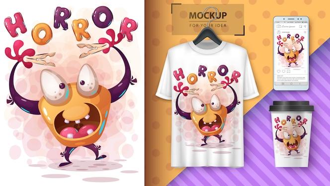 Merchandising e cartaz de monstro de halloween