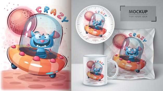 Merchandising e cartaz de monstro louco