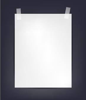 Merda de papel a4 com fita adesiva em fundo escuro