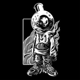 Merda experimenta ilustração em preto e branco