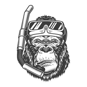 Mergulhador arrogante de gorila vintage