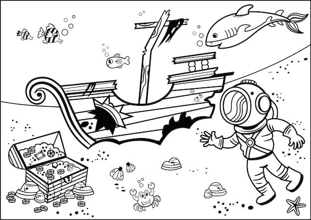 Mergulhador com baú de pirata em estilo cartoon livro de colorir para crianças preto e branco