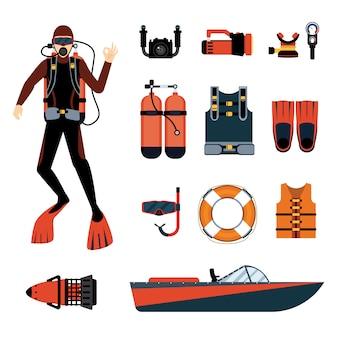 Mergulhador com equipamento de mergulho e equipamentos