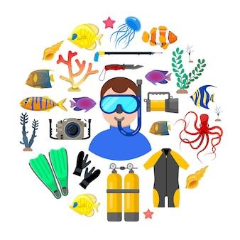 Mergulhador com equipamento de mergulho
