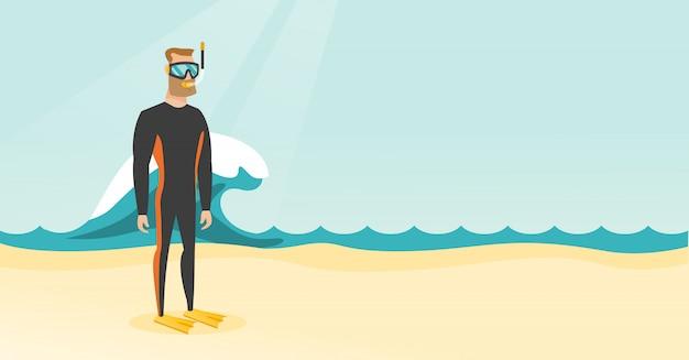 Mergulhador de mergulhador caucasiano novo no terno de mergulho.