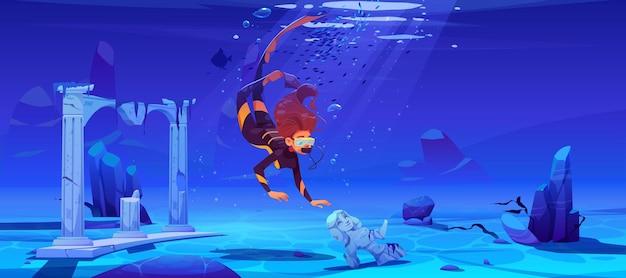 Mergulhador de mulher com máscara e cidade antiga submersa sob a água no mar ou oceano.