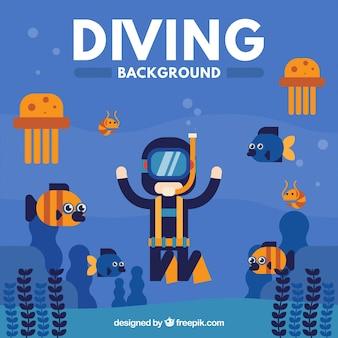 Mergulhador do mergulhador com criaturas do mar de fundo no design plano