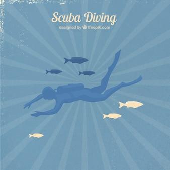 Mergulhador do mergulhador com peixes em um fundo sunburst