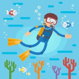 Mergulhador feliz nadando sobre o recife de coral com peixes