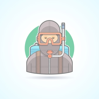 Mergulhador, homem de mergulho com ícone de aqualung. ilustração de avatar e pessoa. estilo delineado colorido.