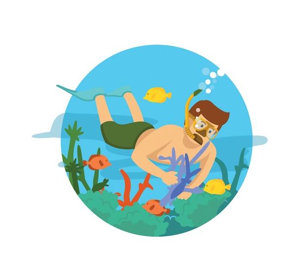 Mergulhador masculino nadando no oceano