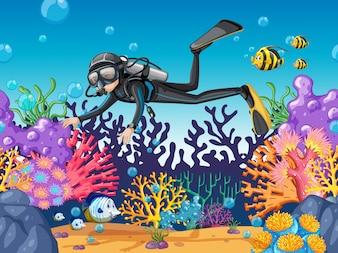 Mergulhador, mergulhar, em, bonito, recife