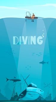 Mergulhadores explorando naufrágios no fundo do oceano, composição estilo quadrinhos plana com ilustração subaquática