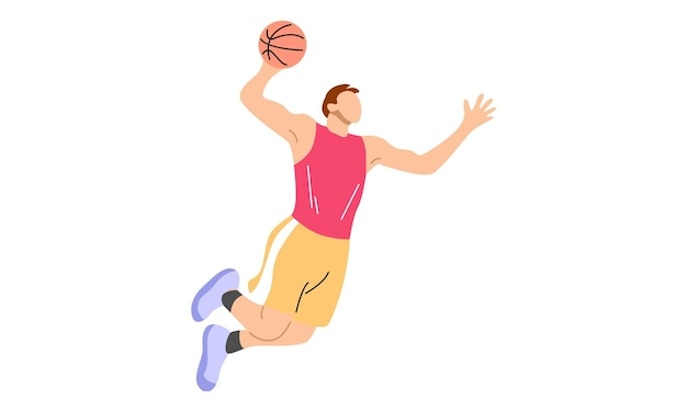 Mergulhando de jogador de basquete