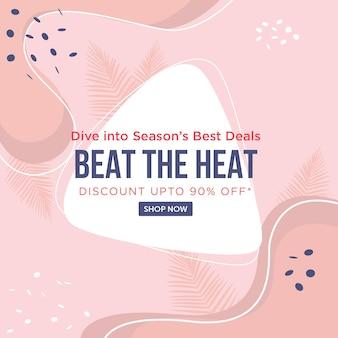 Mergulhe nas melhores ofertas das estações do ano supere o modelo de design de banner de calor