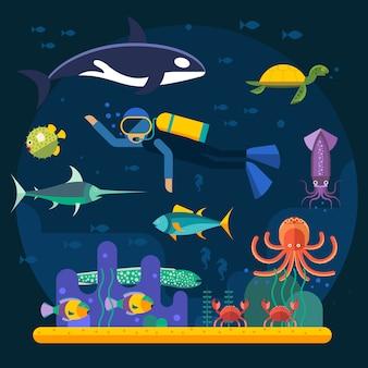Mergulho com peixes e ilustração vetorial de recifes de corais