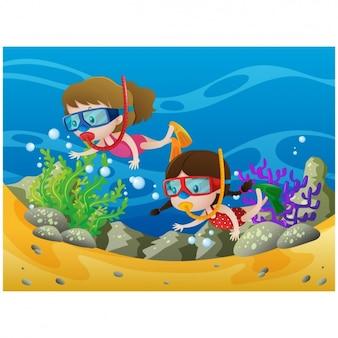 Mergulho crianças no mar